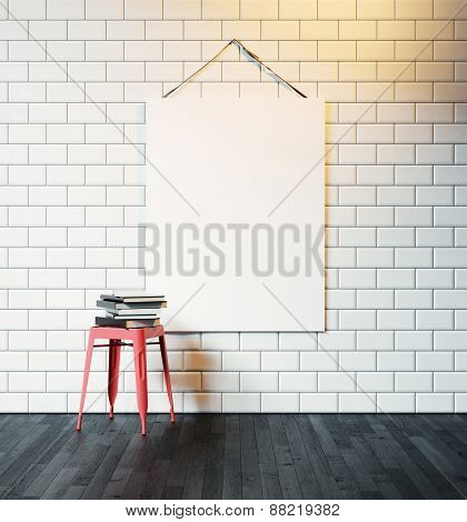 White Canvas Hanging On The Wall Decorated With White Vintage Tiles. 3D Rendering