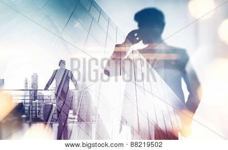 Double Exposure With Businessman Silhouette. With Special Lighting Effects