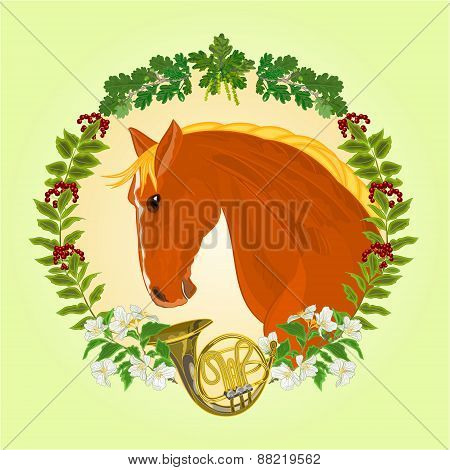 The Head Red Horse Hunting Theme Vector