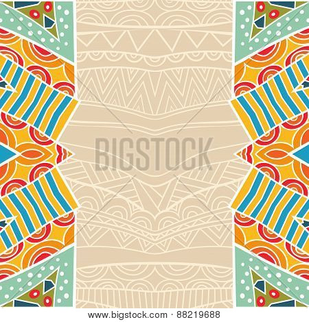 Background With Bright Tribal Border