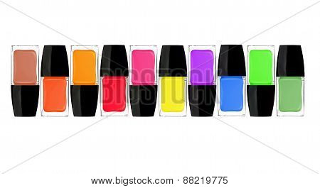 Set Of Colorful Nail Polishes Isolated On White