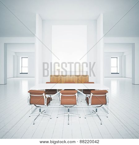 White Picture In The Interior. 3D Rendering