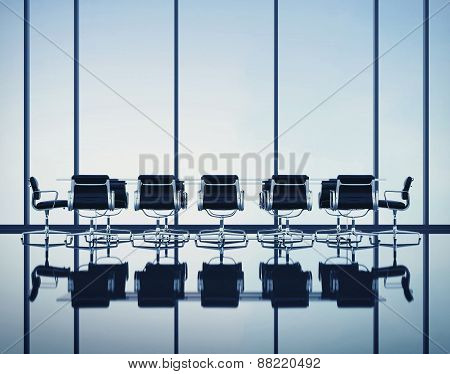 Modern Office Interior With Large Windows. 3D Rendering