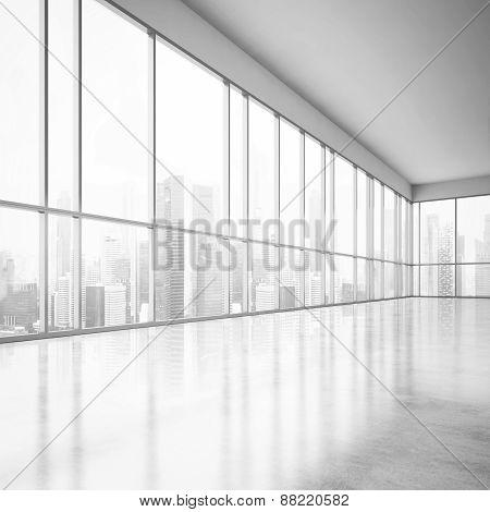 Bright Open Plan Interior. 3D Rendering