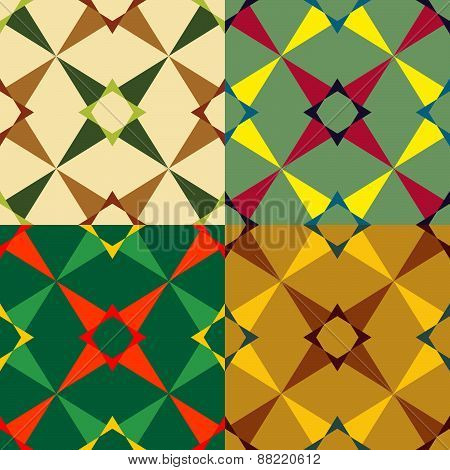 Set Color Of Seamless Geometric Pattern