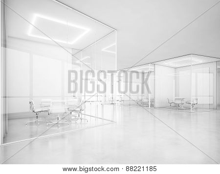 White Office Space. 3D Rendering