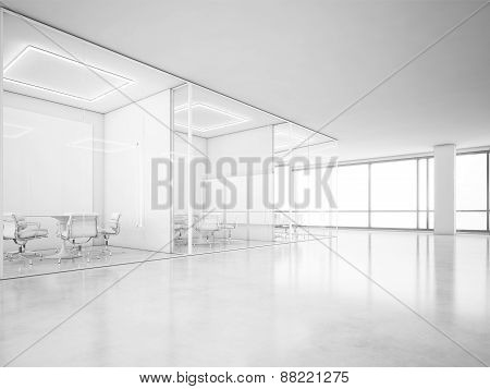 Office Interior With Panoramic Windows. 3D Rendering