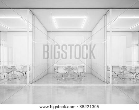 Contemporary Office Interior. 3D Rendering