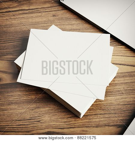 Blank Business Cards Template On Wood Background