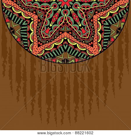 Grunge Background With Tribal Ornament Half Round Element