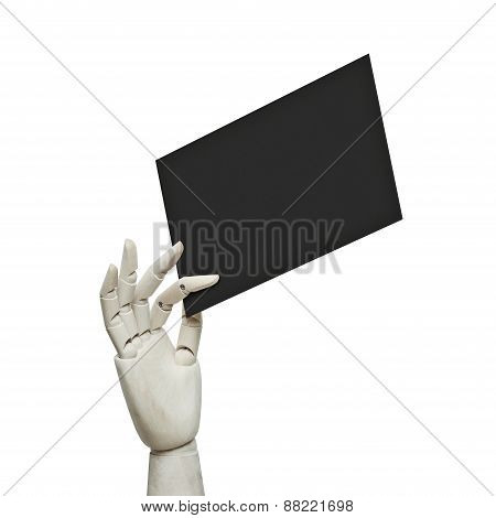 White Wood Hand Holding Black Page