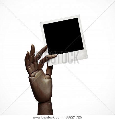Dark Wood Hand With Polaroid Frame