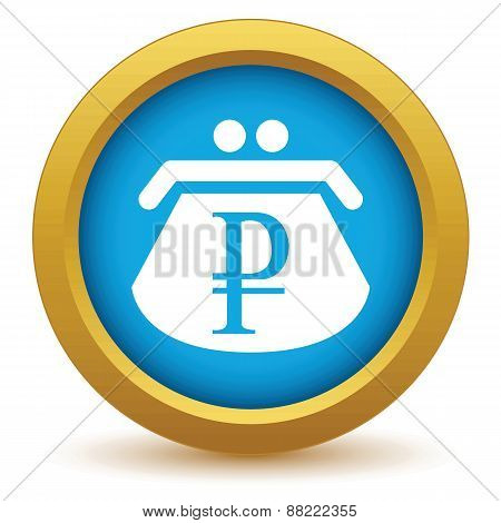 Gold rouble purse icon