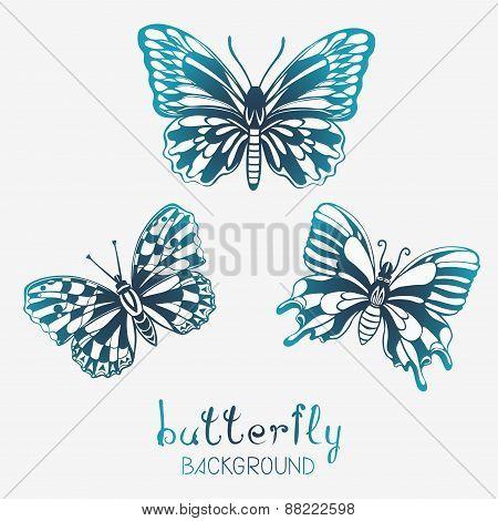 Three Stylized Butterflies