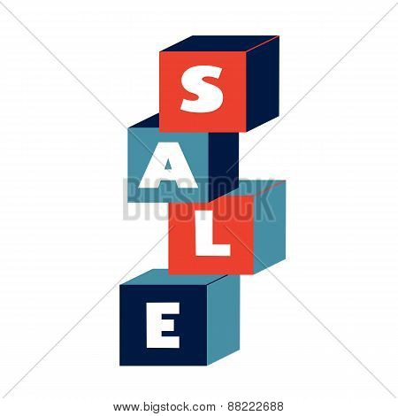 Concept card for sales. Colorful blocks with word sale