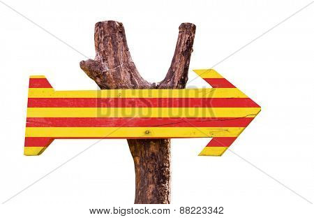 Catalonia Flag wooden sign isolated on white background