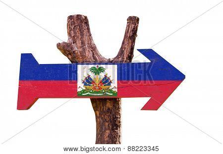 Haiti Flag wooden sign isolated on white background