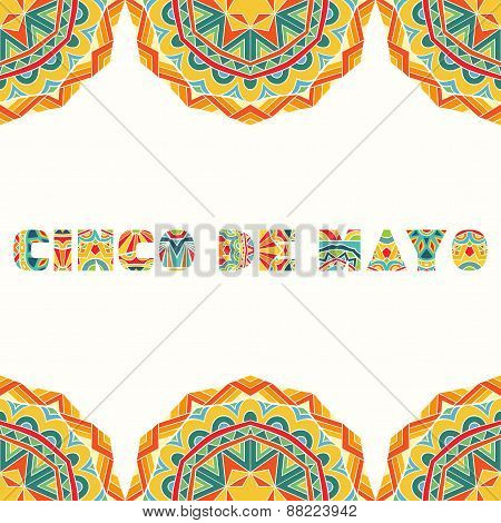 Cinco De Mayo Card With Bright Mexican Border