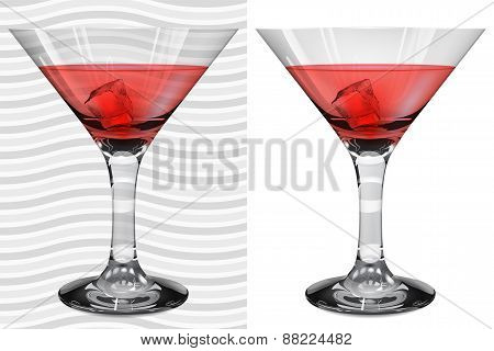 Transparent And Opaque Realistic Martini Glasses With Martini And Ice Cube
