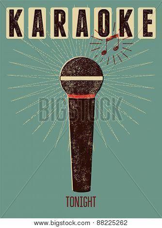 Typographic retro grunge karaoke poster. Vector illustration.