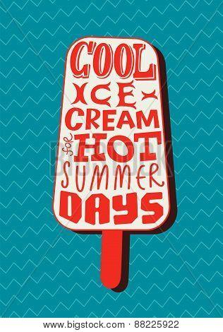 Vintage ice cream poster. Retro typography label design. Vector illustration.