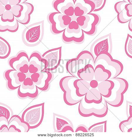 Stylish Seamless Pattern With Sakura And Leaves