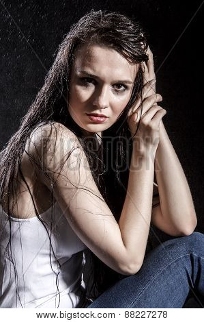 Pale Sad Woman Covered With Water Drops