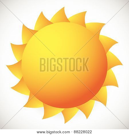 Sun Vector Clip-art With Twisted Rays. Orange-bronze Colors.