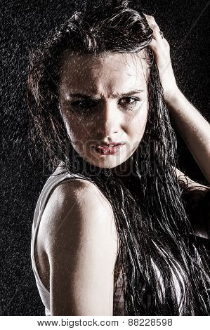Wet Sexy Woman Covered With Water Drops