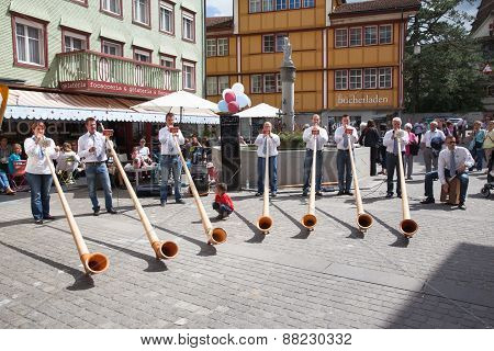 Alphorn Performance In Appenzell