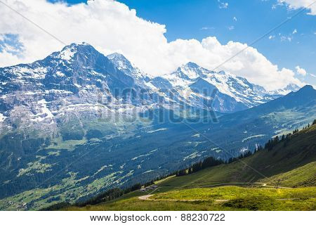 Panoramic View Of Eiger, Monch And Jungfrau