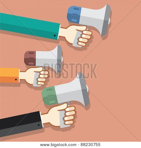 Flat design stylish vector illustration megaphone with cloud of colorful application icons on media