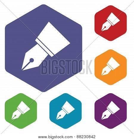 Pen rhombus icons