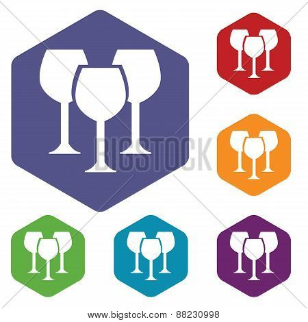 Stemware rhombus icons