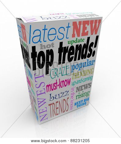 Top Trends words on a 3d product box or package to illustrate the latest, newest or most popular items, goods or merchandise