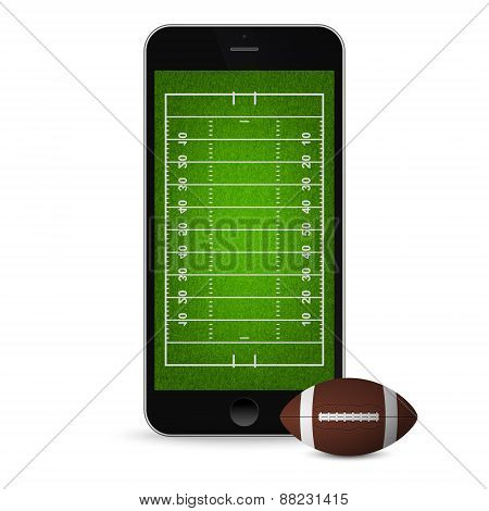 Smartphone With Football And Field On The Screen.