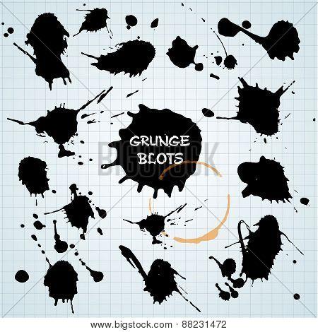 Blots Set. Grunge Texture.