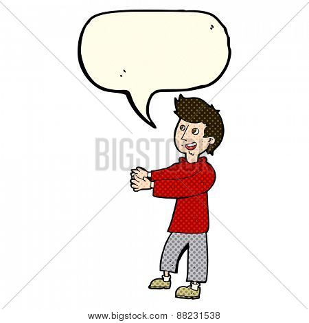 cartoon happy man with speech bubble