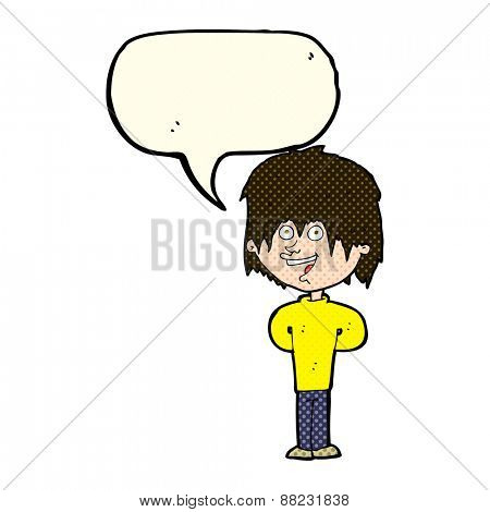 cartoon happy scruffy boy with speech bubble