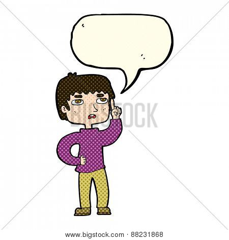 cartoon boy with question with speech bubble