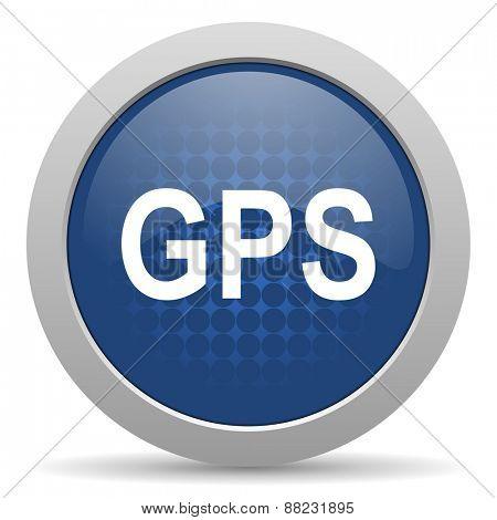 gps blue glossy web icon