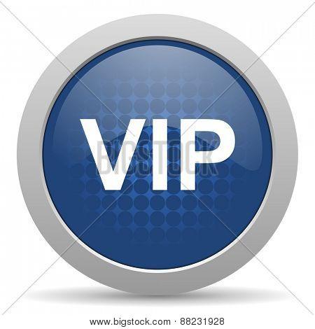 vip blue glossy web icon