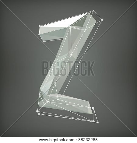 Low poly alphabet. Vector illustration. letter