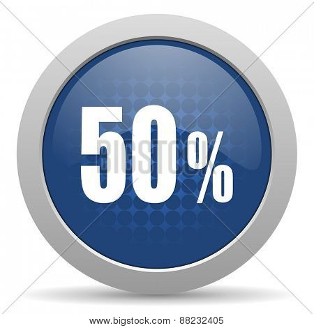 50 percent blue glossy web icon
