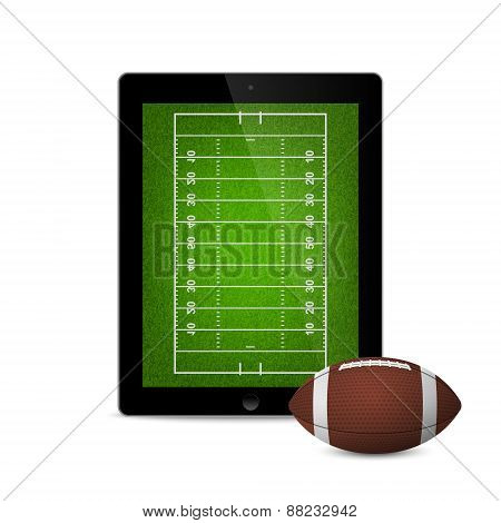 Tablet With American Football Ball And Field On The Screen.