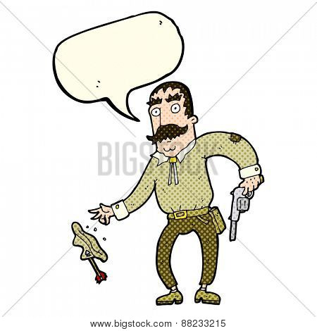 cartoon wild west cowboy with speech bubble