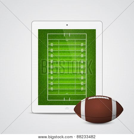 White Tablet With American Football Ball And Field On The Screen.
