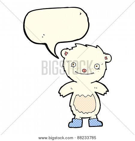 cartoon teddy polar bear wearing boots with speech bubble
