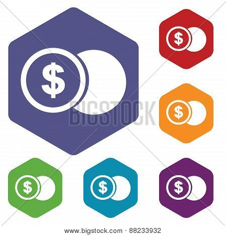 Dollar coin rhombus icons