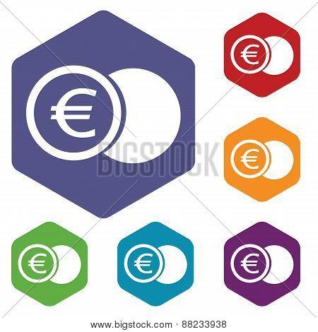 Euro coin rhombus icons